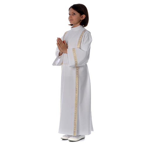 Holy Communion alb with pleats on back and front and braided border 2