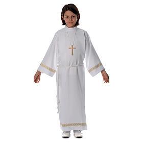Aubes communion, profession de foi: Aube Première Communion plis bord doré manches et bord inférieur