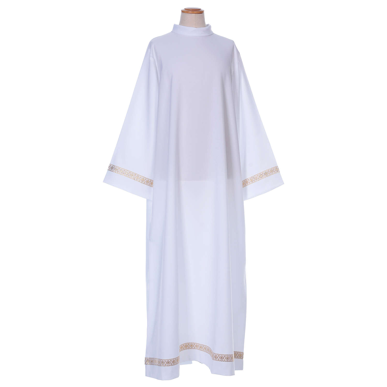 First Communion alb with braided border on hem and sleeves 4