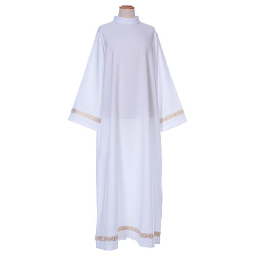 First Communion alb with braided border on hem and sleeves 1
