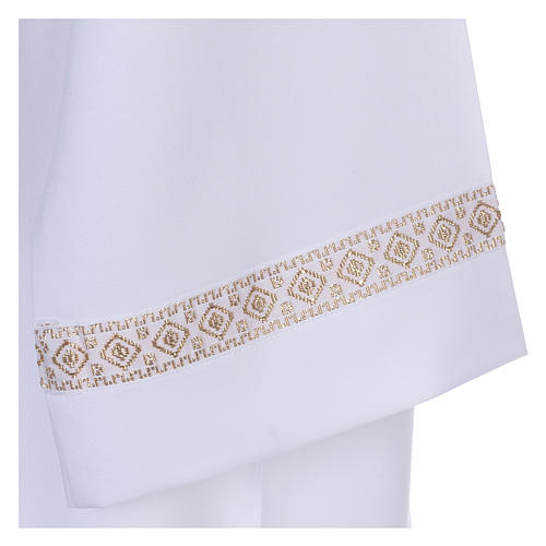 First Communion alb with braided border on hem and sleeves 2