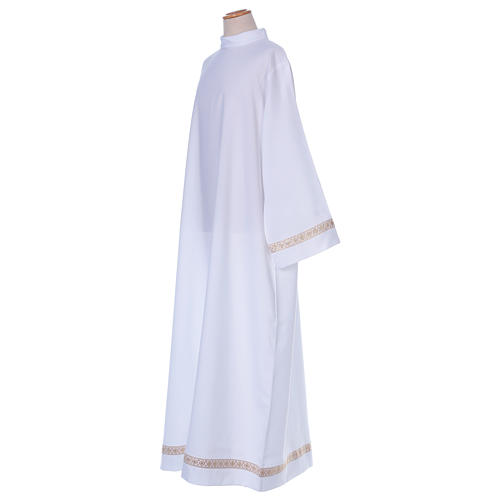 First Communion alb with braided border on hem and sleeves 3