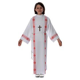 Aubes communion, profession de foi: Aube Première Communion plis et bord rouge losanges avant et arrière