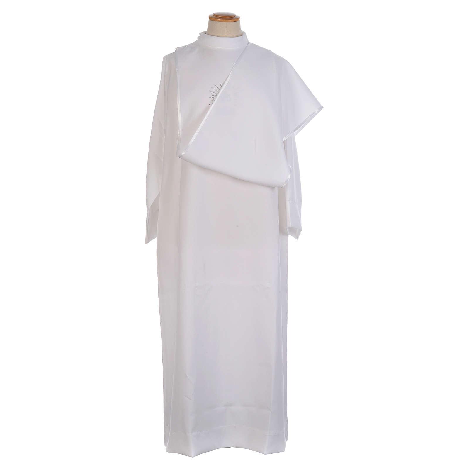 Aube Première Communion blanche scapulaire biais satin et strass 4