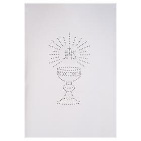 Aube Première Communion blanche scapulaire biais satin et strass s4