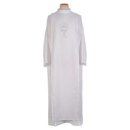 Aube Première Communion blanche scapulaire biais satin et strass 1
