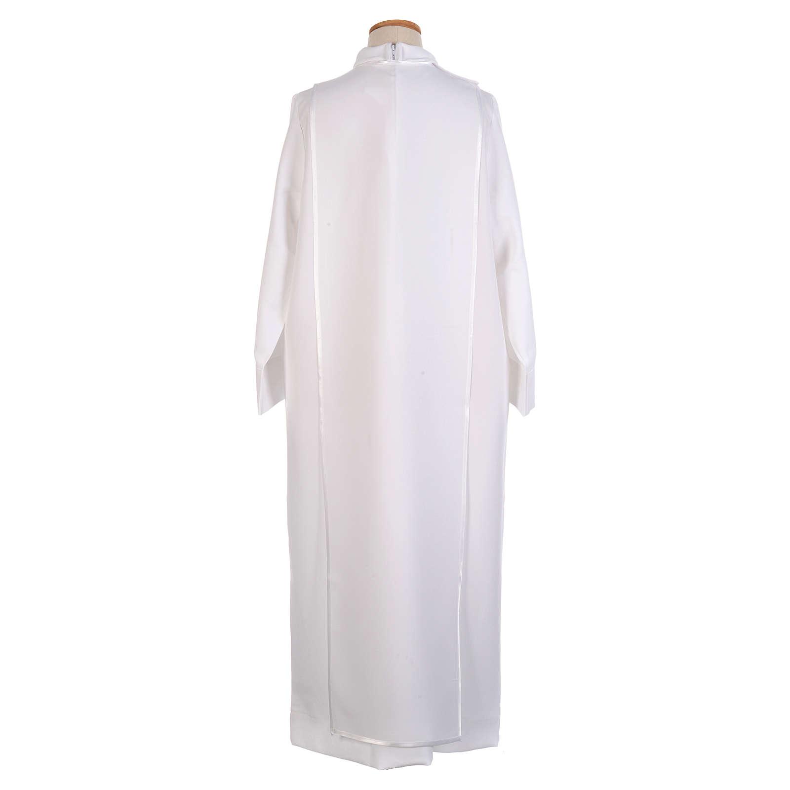 First Communion alb trimmed scapular and eucharistic symbols 4
