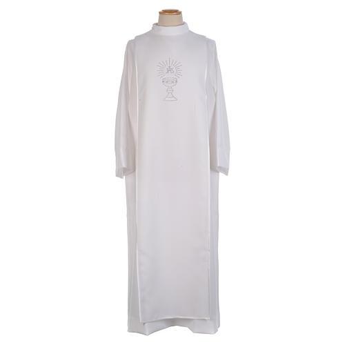First Communion alb trimmed scapular and eucharistic symbols 1