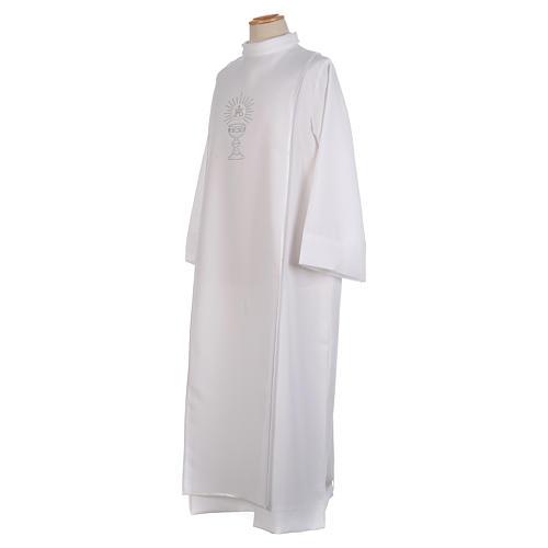 First Communion alb trimmed scapular and eucharistic symbols 2