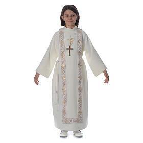 Aubes communion, profession de foi: Aube Première Communion ivoire scapulaire bordure et broderie croix