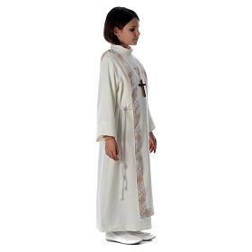 Aube Première Communion ivoire scapulaire bordure et broderie croix s3