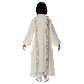 Aube Première Communion ivoire scapulaire bordure et broderie croix s4
