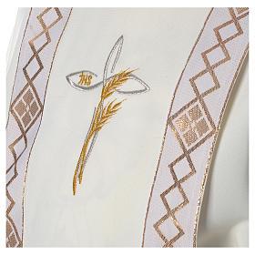 Aube Première Communion ivoire scapulaire bordure et broderie croix s5
