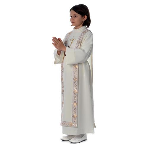 Aube Première Communion ivoire scapulaire bordure et broderie croix 2