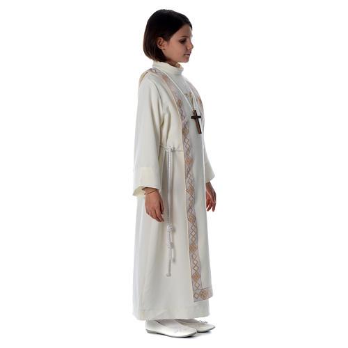 Aube Première Communion ivoire scapulaire bordure et broderie croix 3