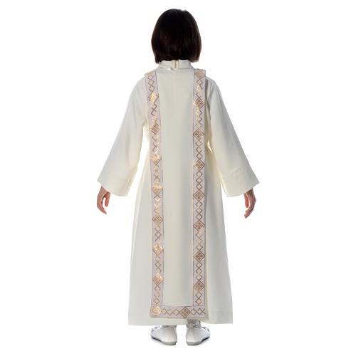 Aube Première Communion ivoire scapulaire bordure et broderie croix 4