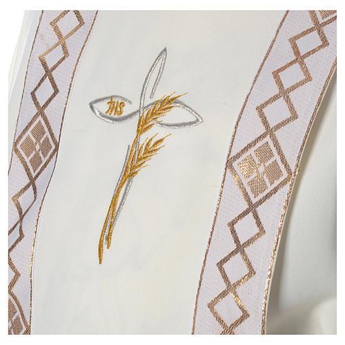 Aube Première Communion ivoire scapulaire bordure et broderie croix 5