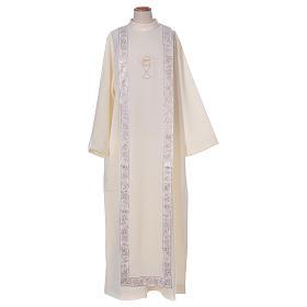 Aubes communion, profession de foi: Aube Communion scapulaire bord or broderie calice
