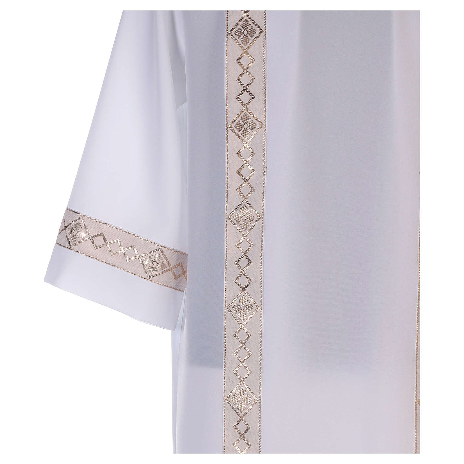 First communion dress with golden hem and high collar 4