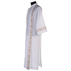 First communion dress with golden hem and high collar s4