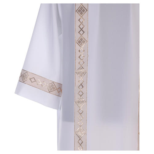 First communion dress with golden hem and high collar 3