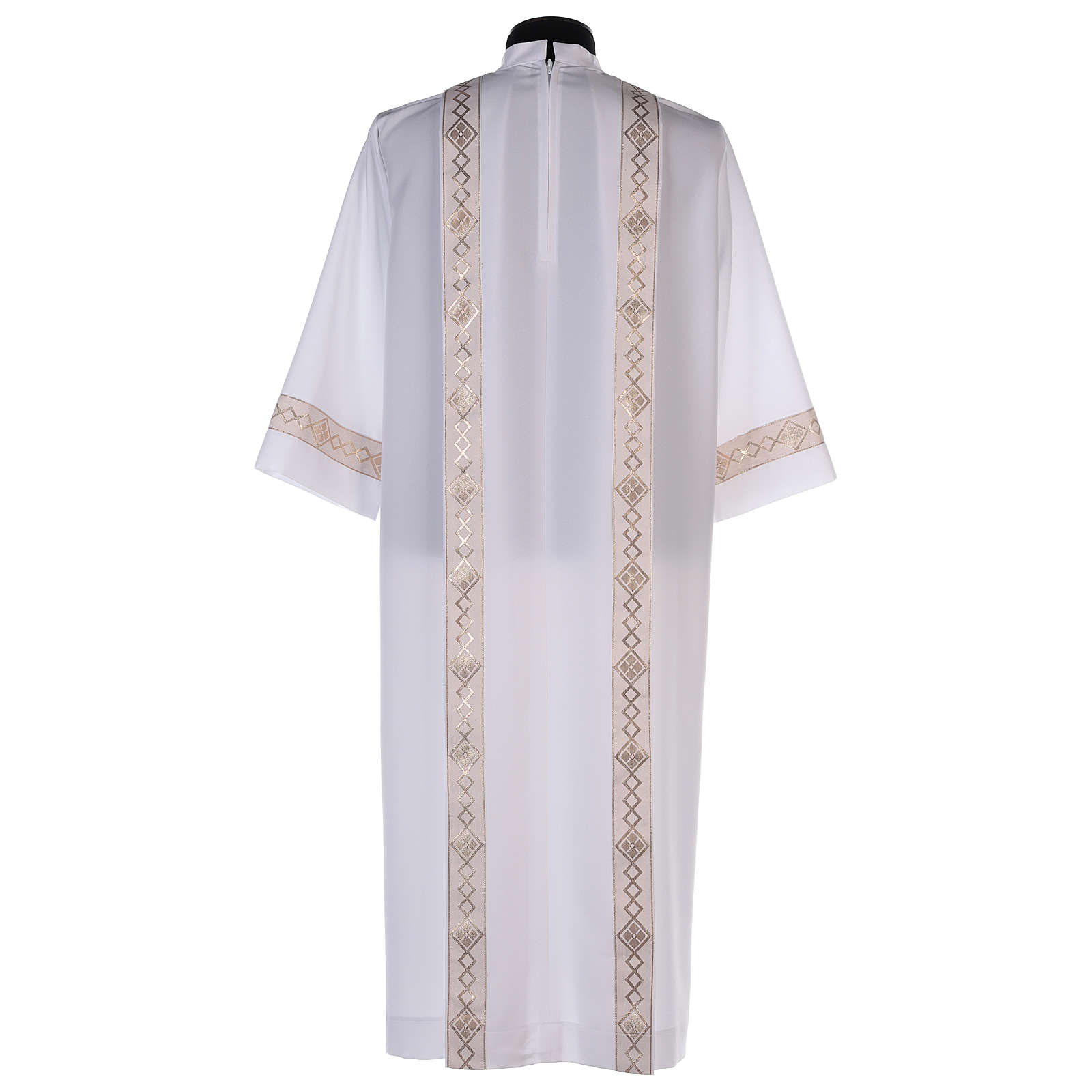 Holy Communion dress with golden hem and high collar 4