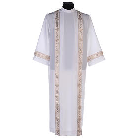 Holy Communion dress with golden hem and high collar s1