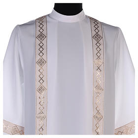 Holy Communion dress with golden hem and high collar s2