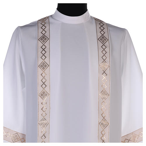 Holy Communion dress with golden hem and high collar 2