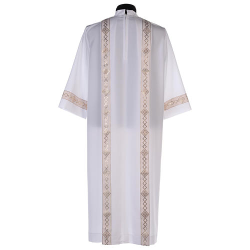 Holy Communion dress with golden hem and high collar 5