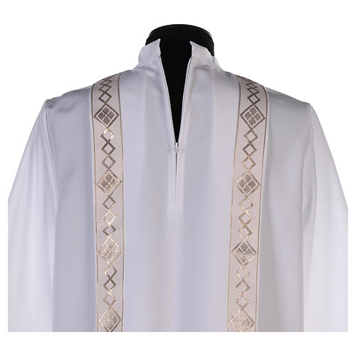 Holy Communion dress with golden hem and high collar 6