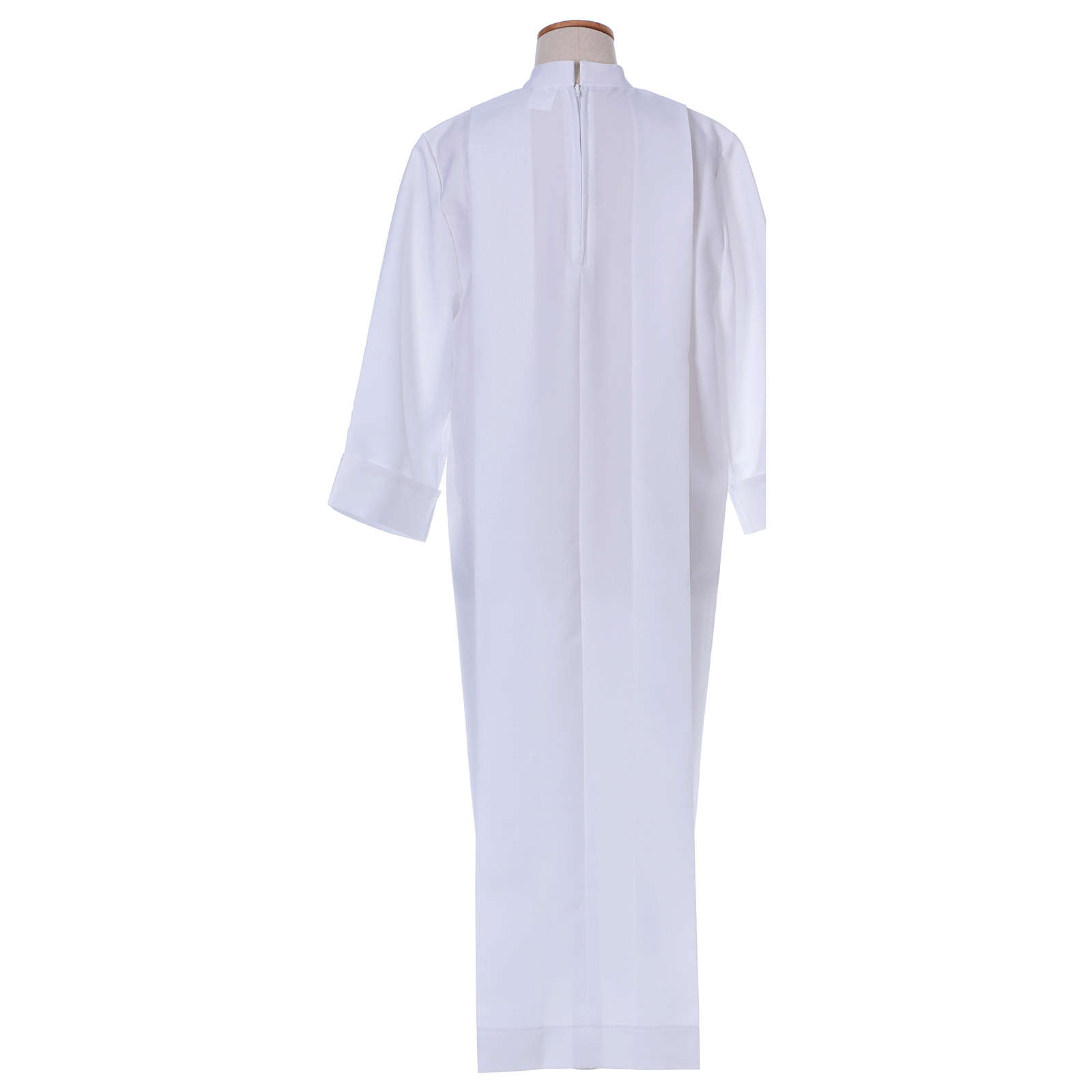 First communion dress in polyester with two pleats and high collar 4