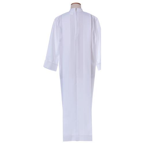 Vestido Primera Comunión poliéster dos pliegues cuello alto 3