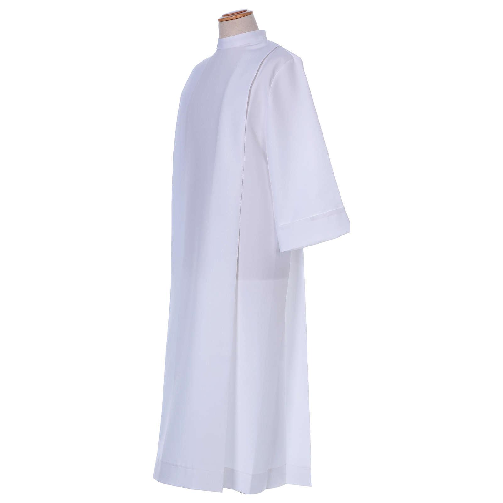 Aube Première Communion polyester deux plis col montant 4