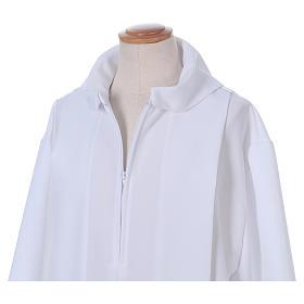 Erstkommunionalbe aus Polyester 2 Falten auf Vorder- und Rückseite mit Kragen in Kapuzenform s4