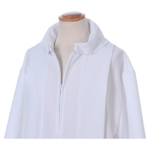 Erstkommunionalbe aus Polyester 2 Falten auf Vorder- und Rückseite mit Kragen in Kapuzenform 4