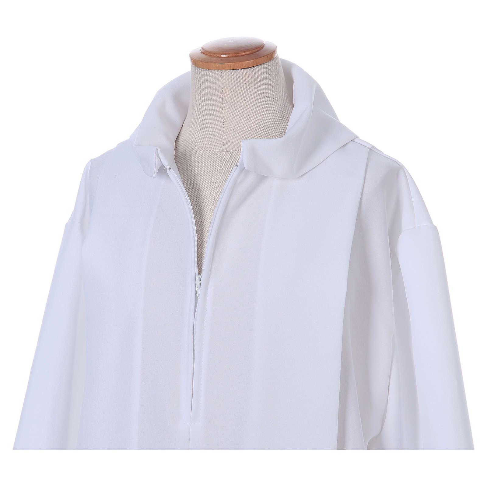 Vestido Primera Comunión poliéster dos pliegues falsa capucha 4