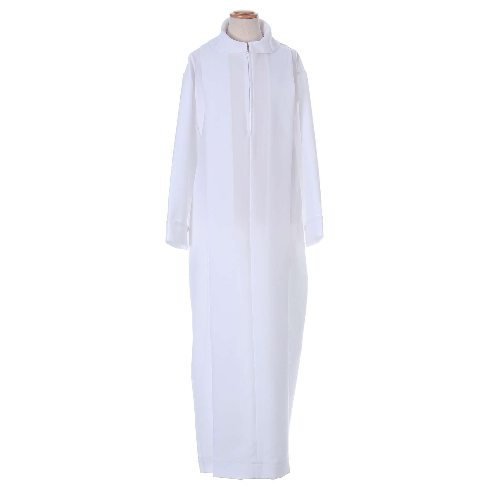 First Holy Communion dress in polyester with two pleats and fake hood 4