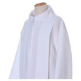 First Holy Communion dress in polyester with two pleats and fake hood s2