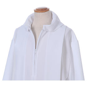 First Holy Communion dress in polyester with two pleats and fake hood s4