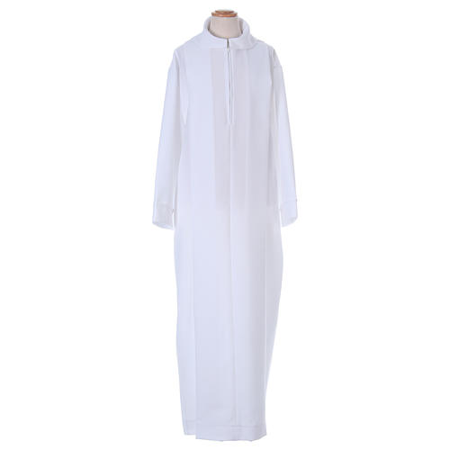 First Holy Communion dress in polyester with two pleats and fake hood 1