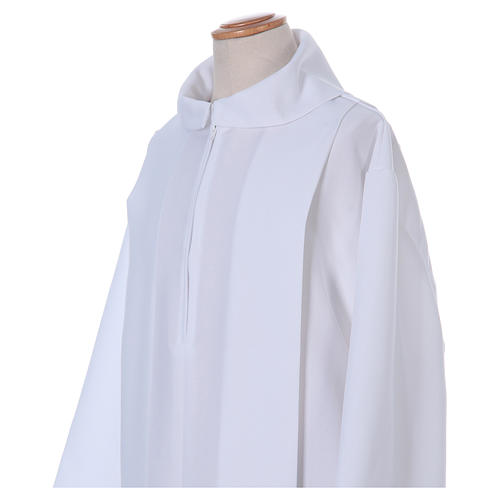 First Holy Communion dress in polyester with two pleats and fake hood 2
