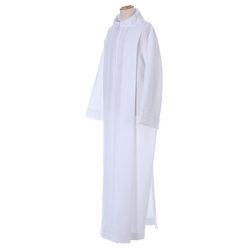 First Holy Communion dress in polyester with two pleats and fake hood 3