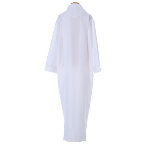 First Holy Communion dress in polyester with two pleats and fake hood 5