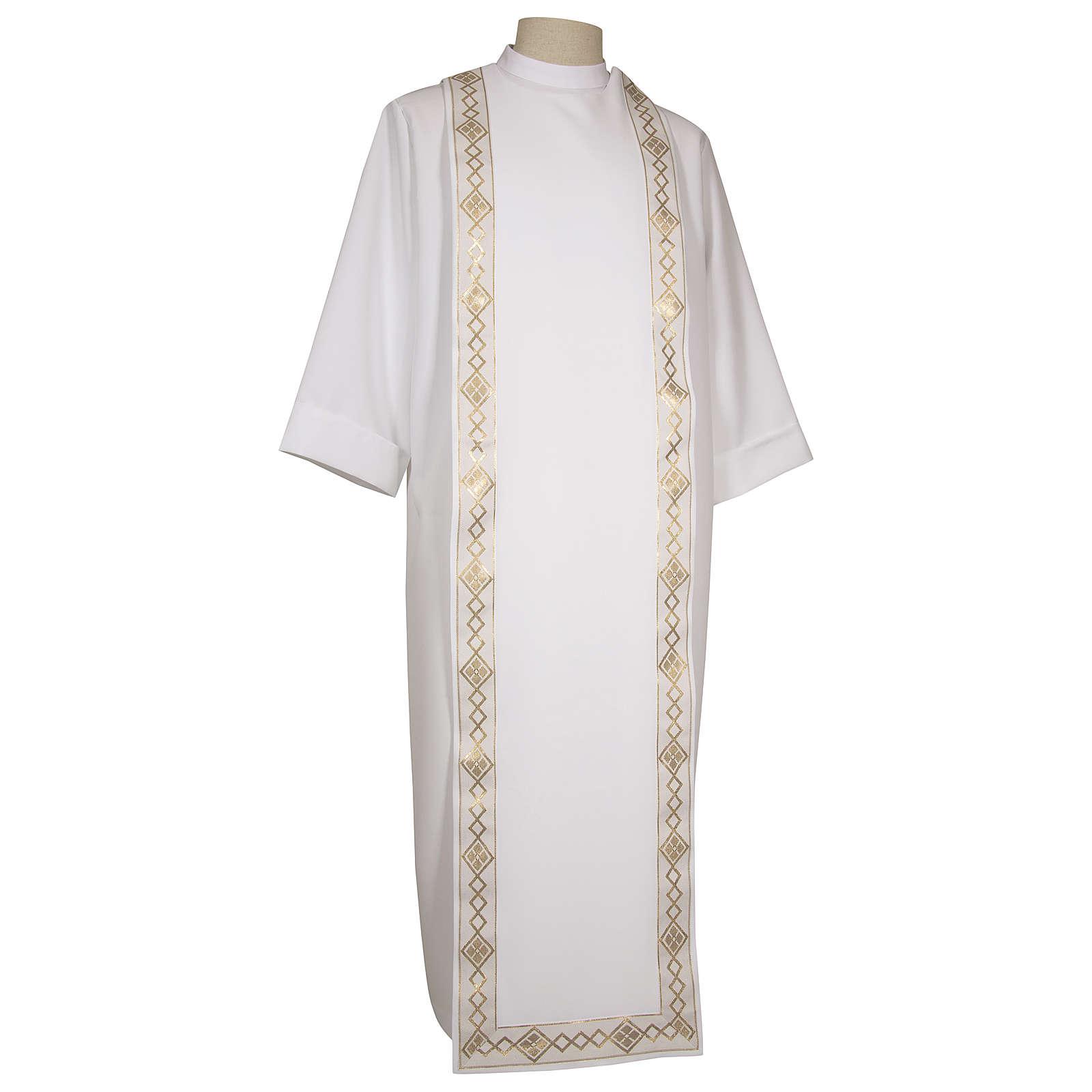 Aube de Première Communion polyester scapulaire bord or col montant 4