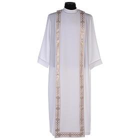 Aubes communion, profession de foi: Aube de Première Communion polyester scapulaire bord or col rond