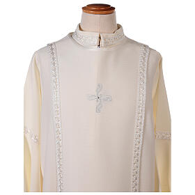 First Communion alb ivory with white embroidery girl s5