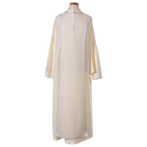 First Communion alb ivory with white embroidery girl 1