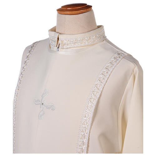 First Communion alb ivory with white embroidery girl 7