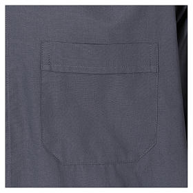 Clergy shirt, short sleeves in mixed cotton, dark grey s3